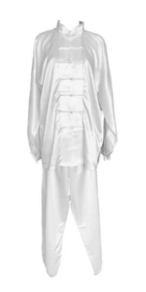 tradiční čínské bílé saténové obleky a bavlněné uniformy na cvičení tchaj-ťi (taiji, tai chi, tajči) ve všech velikostech a rozměrech,taijieshop.cz