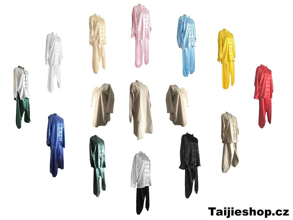 Saténové a bavlněné obleky, komplety, šaty, uniformy a oděvy na Tchaj-ťi (Taiji, Taichi, Tajči). Zakázková výroba - vyrábíme obleky z různých materiálů ve všech velikostech S,M,L,XL,XXL,XXXL.